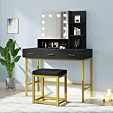 POVISON Vanity Desk, Vanity Table Set with Lighted Mirror, Makeup Vanity Dressing Table with Stool, 10 Lights Bulbs, Adjustable Lighting Modes, 3 Drawers and 2 Shelves for Women Girls, Black