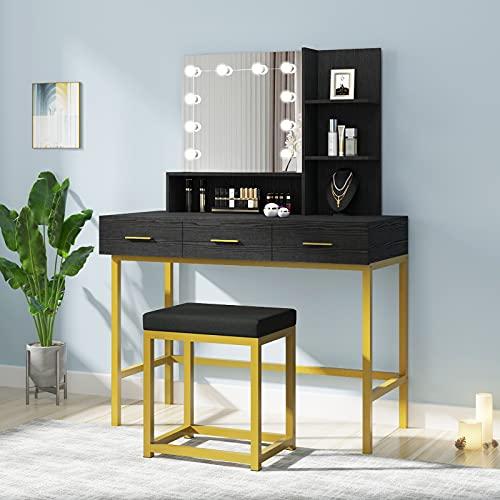 POVISON Vanity Desk, Vanity Table Set with Lighted Mirror, 10 Light Bulbs, Makeup Vanity Dressing Table with Stool, Adjustable Lighting Brightness, 3 Drawers and 2 Shelves for Women Girls, Black