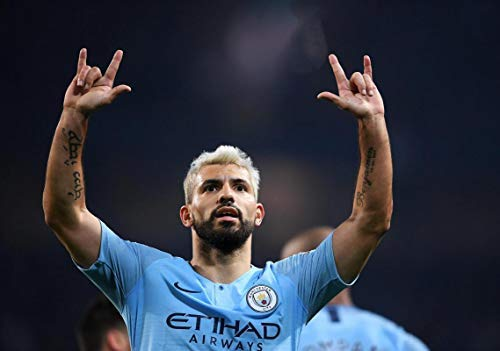SERGIO AGUERO CELEBRATING WIN OVER WEST HAM UTD MANCHESTER CITY 2019 FOOTBALL POSTER 11395 (A3-A4-A5)