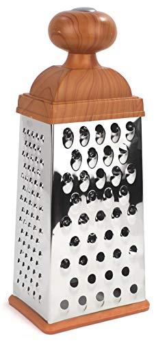 furein Rallador 4 Caras de Acero Inoxidable de 26 cm para Cortar Trituradoras Verduras y Frutas o Picar Quesos, Accesorios para la Cocina, Herramienta de Cortar o Rallar con Mango Ergonómico Clásico