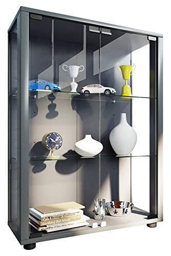 VCM Sammelvitrine Standvitrine Glasvitrine Glasregal Vitrine Glas Schaukasten ohne Beleuchtung Silber