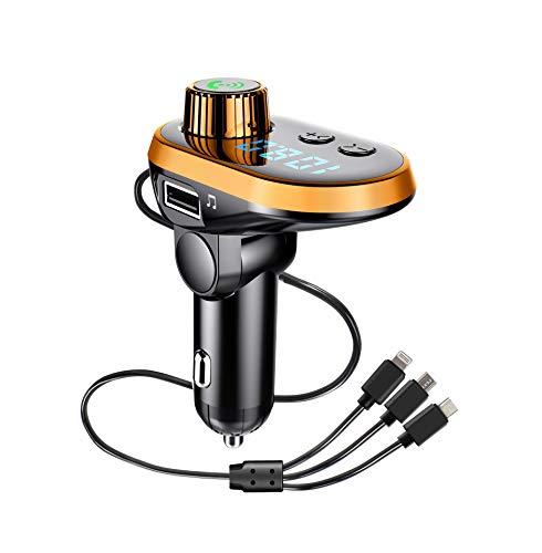 Transmisor FM Bluetooth 5.0 para Coche, Trpambvia One for Three QC 5V/3.1A Cargador USB Adaptador de Radio para Coche Manos Libres Reproductor de Música MP3 Soporte Tarjeta TF Disco U, Naranja