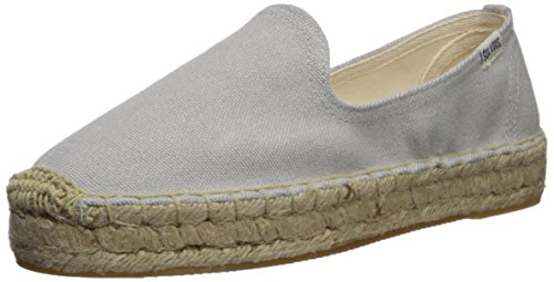 """Soludos Women's1"""" Platform Smoking Slipper(Canvas and Leather) Gray, Size 11"""