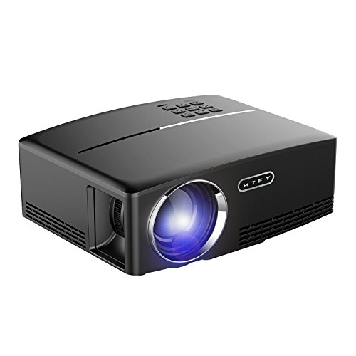 MTFY Projector-Mini Portable Video Projector-1800 Lumens LED Home Theater Projector-Support HD 1080P HDMI USB VGA AV for PC/Laptop/DVD/TV/Video/Photo/Game/Movie