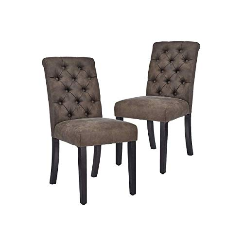 tufted dining chair set of 2s CangLong Tufted Leather Kitchen Dining Chairs Side Chair for Kitchen Room Dining Room, Set of 2, Black