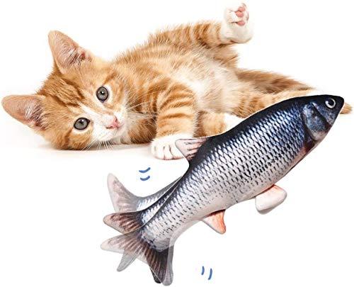 Realistische plüsch Simulation elektrische Puppe Fisch, lustige interaktive Haustiere kauen beißen liefert für Katze/Kitty/kätzchen Fisch Flop katzenspielzeug katzenminze Spielzeug (A)