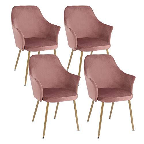 setsail 4er Set Samt Esszimmerstühle Küchenstuhl Polsterstuhl Wohnzimmerstuhl Sessel mit Armlehne, Sitzfläche aus Samt, Metall Gold Beine, Rosa