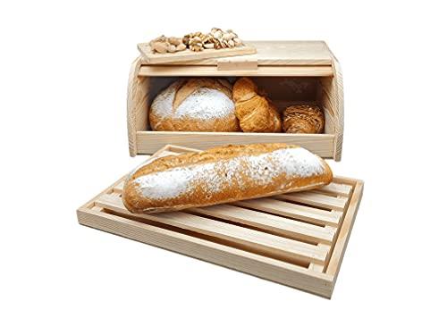 Pack - Panera de Madera o Caja para Guardar Pan + Quesera o Mantequera de Madera Rectangular con Tapa Acrílica+ Tabla para Cortar Pan (Pack Panera Tbla y Quesera o Mantequera)