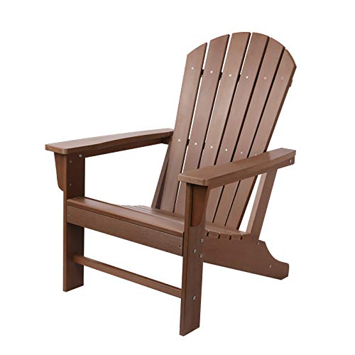 Oversized Adirondack Chair, Polystyrene Adirondack Chairs Outdoor, Weather Resistant Lounge Chair with 350lbs Load Capacity, Fit with Patio, Deck, Poolside, Backyard, Balcony (Brown)