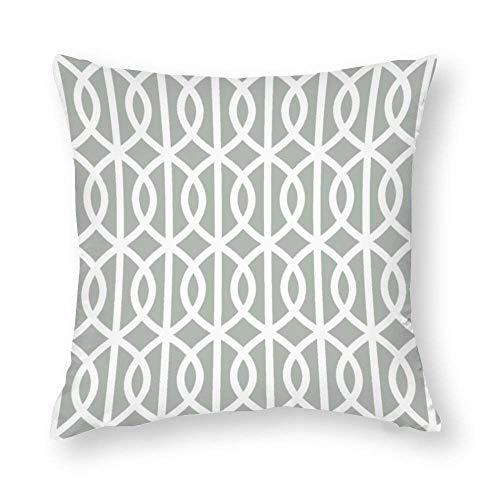 EU Silver Gray Trellis Throw Pillow Covers Case Cushion Pillowcase with Hidden Zipper Closure for Sofa Home Decor