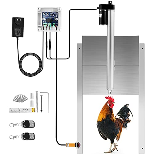 Automatic Chicken Coop Door Opener Automatic Closing Induction Controller, Actuator Motor and Automatic Door Opener Design with Two Remote Controll
