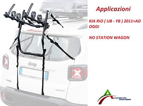 PORTABICI ASSEMBLATO E Pronto ALL'UTILIZZO (3 Bici) per PORTELLONE O Baule Posteriore per Auto SPECIFICO per KIAA Rio (UB - YB) dal 2011 AD Oggi (No Modello Station Wagon)
