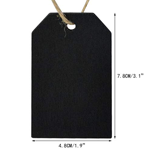 48 Pcs Chalkboard Tags, Topbuti Hanging Wooden Mini Chalkboard Signs Decorative Labels, Erasable Hanging Chalkboard Tags with Twine, Name Tags Price Tags Message Tags for DIY Craft Wedding Party Decor Photo #2