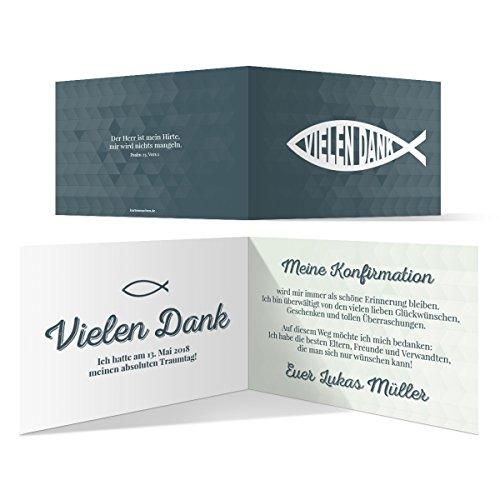 30 x Konfirmation Dankeskarten Danksagungskarten Danksagung Konfirmationskarten - Moderner Jesus Fisch