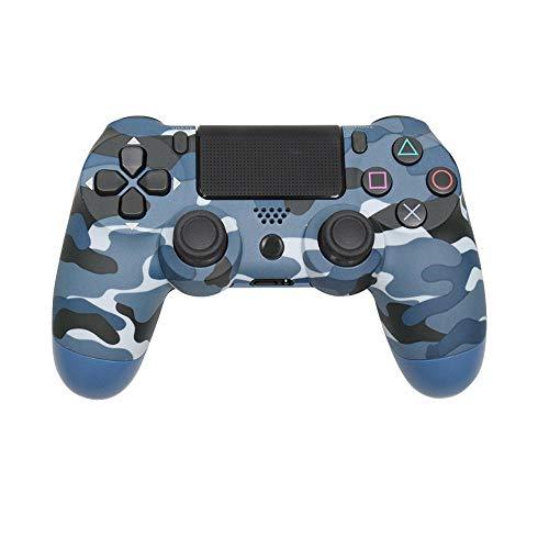 OKLINMI Hochempfindliches Bluetooth ps4 Controller,Dual Vibration Wireless Gamepad for PC,Sechsachsensensor USB Joysticks,Mit Kopfhörer und Mikrofonbuchse-Camouflage Blue