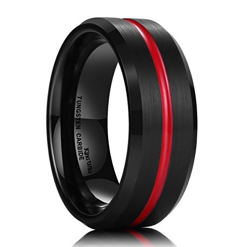 King Will Thin Red Groove Black Brushed Tungsten Carbide Wedding Band Ring Comfort Fit 9
