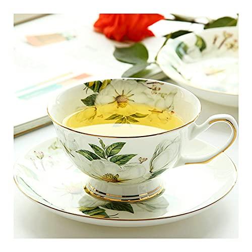 WANGLX Tazas Platos Conjuntos Camelia Estampado Juego de Piezas de Porcelana de Hueso Té de Cerámica Taza de Café Tazas de Té Tazas de Porcelana Florales Ceremic