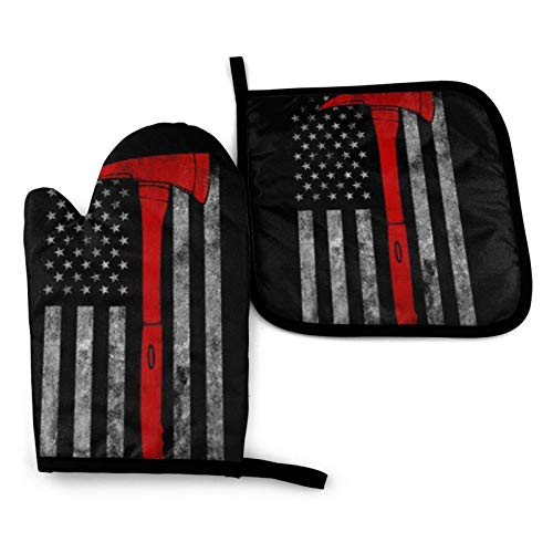 Firefighter Axe Red Line Flag Kitchen Oven Mitts and Pot Holders Sets of 2,Resistant Hot Pads with Polyester Non-Slip BBQ Gloves for Kitchen,Cooking,Baking,Grilling
