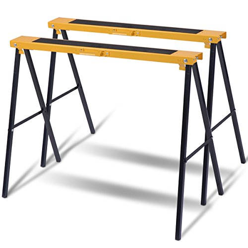 Superbuy 2-Pack Sawhorse Pair Heavy Duty Folding Legs Portable Saw Horses Twin Pack, 275 lb Weight Capacity Each (Classic)