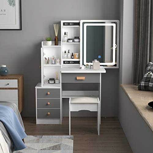FUFU&GAGA Vanity Set with Lighted Mirror, Makeup Vanity Dressing Table with 4 Drawers, Shelves, Dresser Desk and Cushioned Stool Set (White/Grey - Lighted Mirror)