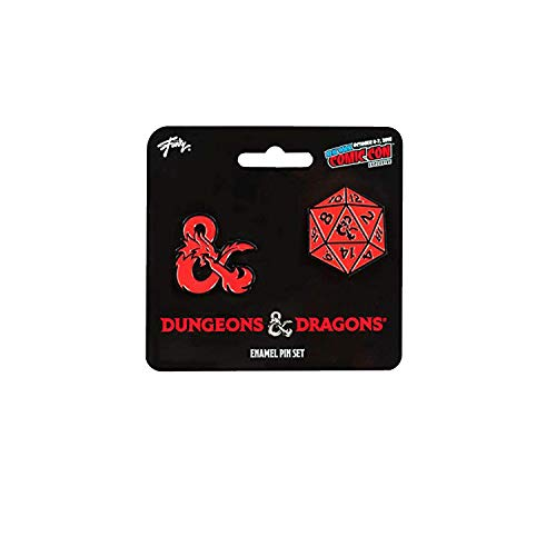 Dungeons & Dragons D20 Die and Ampersand Exclusive Enamel Pin Set - Collectible Gaming Accessories - Perfect Unique Gift for Birthdays, Holidays, House Warming Parties