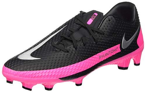 Nike Phantom GT Academy FG/MG, Football Shoe Unisex Adulto, Black/Metallic Silver-Pink Blast, 42.5 EU