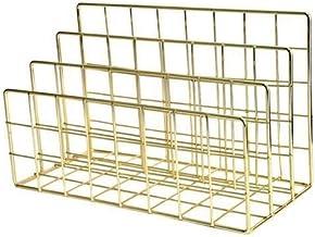 Office Magazine Rack Multifunctionele Desktop Black Metal Storage Basket Opslag Planken (Color : Gold)
