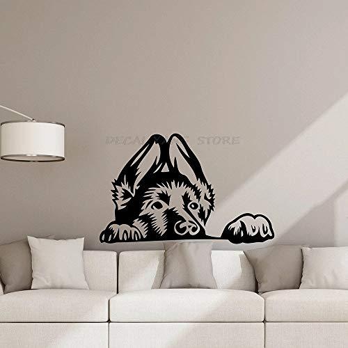 Pegatinas de pared de perro pastor alemán divertido cachorro puerta vinilo niños perrera tienda de mascotas mural decorativo