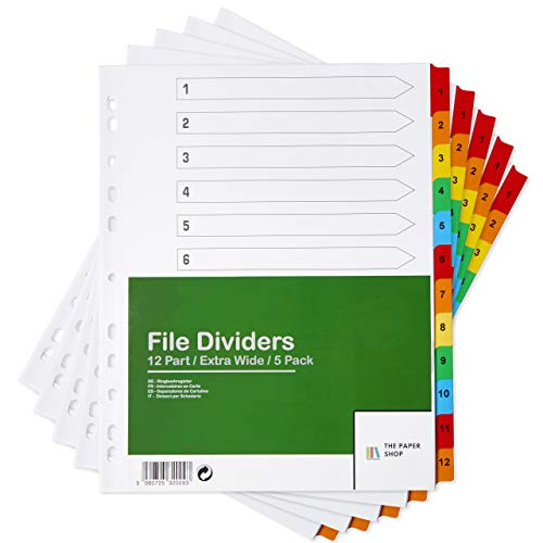 [5 Pack] A4+ Extra Wide File Dividers | A4+ Extra Wide Subject Dividers Multipunched Reinforced Colour Tabs 150gsm