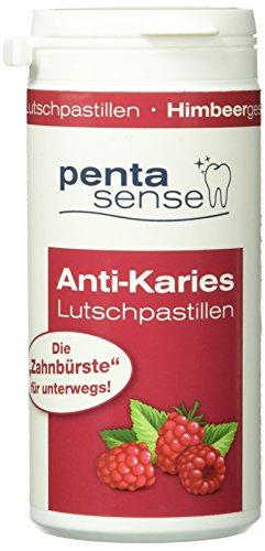 penta-sense Anti Karies Lutschpastillen mit Xylit – Pastillen für die optimale Zahnpflege mit Himbeer Geschmack – 1 x Dose je 135 Pastillen