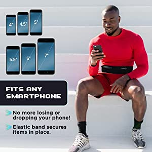 Running Belts : Best Comfortable Running Belts That Fit ALL Phone Models and Fit ALL Waist Sizes. For Running, Workouts, Cycling, Travelling Money Belt & More. Comes in 5 Stylish COLORS (Purple)
