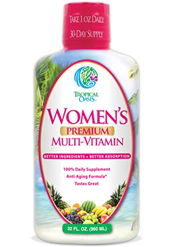 ✅ PREMIUM FORMULA WITH A BLEND OF 16 HERBS & SUPERFOODS: Tropical Oasis Women's Premium Liquid Multivitamin is specially formulated for Women with premium vitamins, minerals, herbs, and superfoods that will keep you feeling young and living an active...
