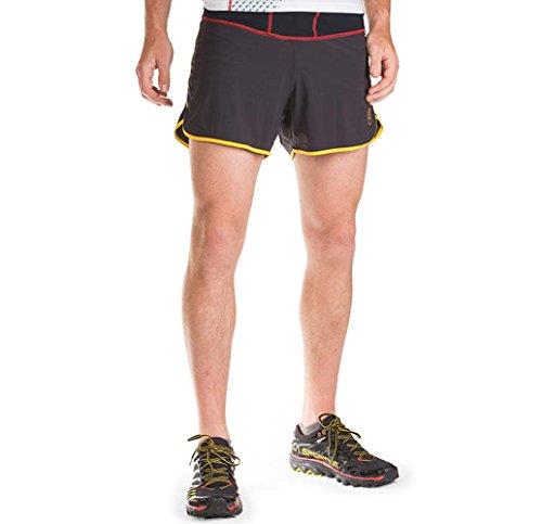 La Sportiva Men's Rush Running Short - Trail Running Shorts for Men 4 inch, Black, XS