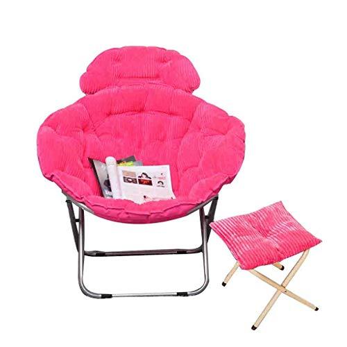 Un pouf- Rembourré Loisir 2pcs Moon Chair Et tabouret Pliant pour Camping Pêche avec Festivals cadeau (Couleur : Pink)