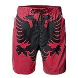 XIAOYI Albania Flag Mens Summer Casual Board Shorts Quick Dry Beach Shorts Swim Trunks - L