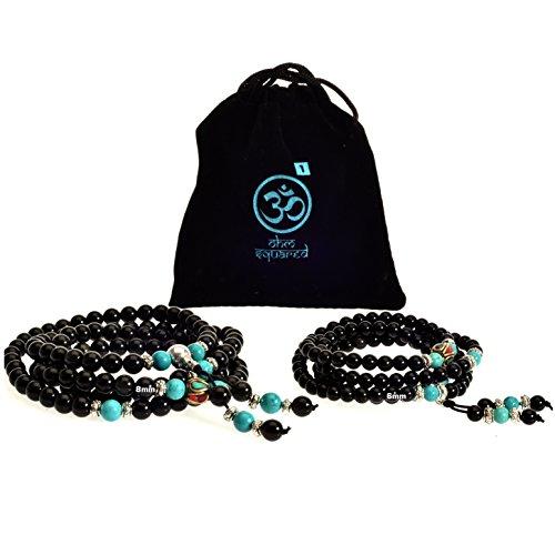 Fantastic Deal! Mala Beads Gemstone Obsidian Turquoise Healing Bracelet Necklace for Meditation