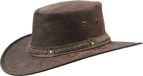Barmah Barmah 1078 Red Rock Kangaroo Känguru Squashy Outback Leather Hat Braun