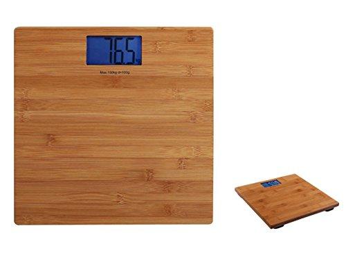 Báscula digital de baño con pantalla LCD, peso hasta 180 kg de madera (apagado automático, báscula digital, pasos de 100 g, bambú)