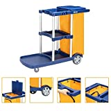 TUFFIOM Commercial Traditional Cleaning Janitorial 3-Shelf Cart, 500 Lbs Capacity Housekeeping Cart, 42.5'L x 18.7'W x 37.6'H, Wheeled with 22 Gallon Zippered Yellow Vinyl Bag and Cover, Blue