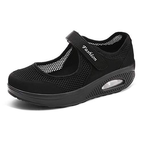 YTREDF Zapatillas de Deporte Zapatos Respirado Ligero Mujeres Tejida Cómodos Zapatos Adecuado para Muchas Ocasiones en Interiores y Exteriores,Negro,40EU