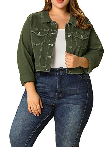 Womens Plus Size Cropped Jacket Button Closed Green Denim Jacket