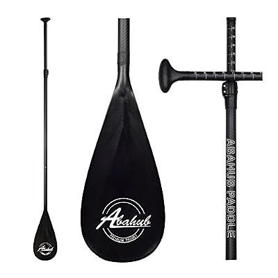 Abahub 3-Piece Adjustable Stand Up Paddle for Paddleboard Carbon Shaft Blue Print Plastic Blade + Bag