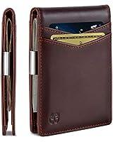 SERMAN BRANDS Money Clip Wallet - Mens Wallets slim Front Pocket RFID Blocking Card Holder Minimalist Mini Bifold (Melted Chocolate Transformer)