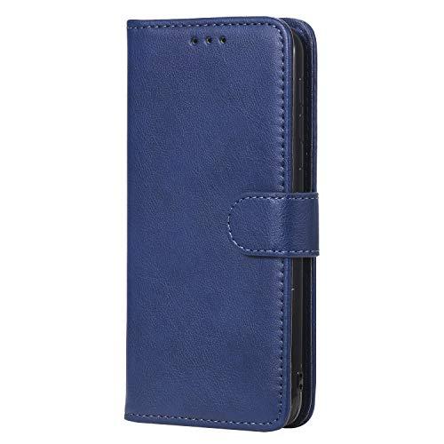 WIWJ Hülle für Samsung Galaxy A10E Tasche Flip Blau - Rein Farbe Ledertasche Wallet Case mit Kartenhalter Abnehmbar Magnet Backcover Detachable Schutzhülle für Samsung Galaxy A10E Handyhülle