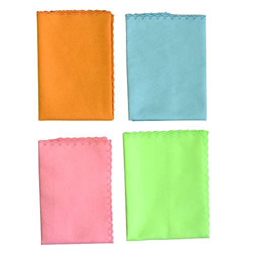 ACCOCO 4pcs Large Microfiber Cleaning Polishing Polish Cloth for Musical Instrument Guitar Violin Piano Clarinet Trumpet Sax (11x11inch)