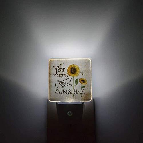 You Are My Sunshine - Paquete de 2 luces nocturnas con sensor automático que se conectan a la pared,ancla náutica,rústico,antiguo,granero,madera,dormitorio,pasillo,decoración brillante,luces de noche