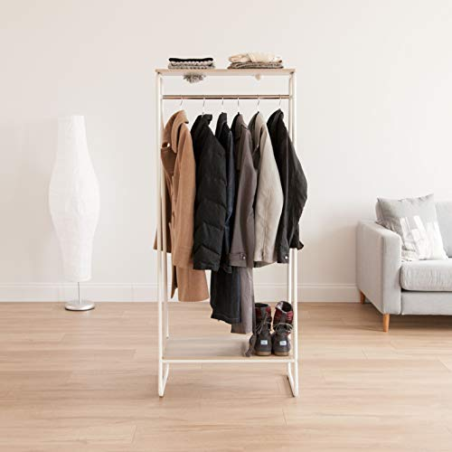 IRIS USA Metal Garment Rack with 2 Wood Shelves, White and Light Brown PI-B2