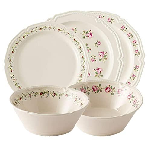 SENWEI Vajilla Juego de vajilla de 5 Piezas Juego de vajilla de cerámica de Primera Calidad Cocina Cena Tazones de Almuerzo Platos Comedor (Color: Beige)