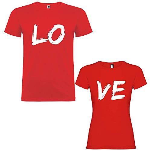 Pack de 2 Camisetas Rojas para Parejas Love Blanco (Mujer Tamaño S +