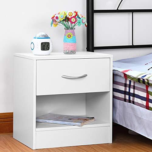 Deuba Nachttisch Weiß Schublade mit Griff & Ablagefach 41 x 39 x 28 cm Holz Nachtkommode Nachtkonsole Nachtschrank
